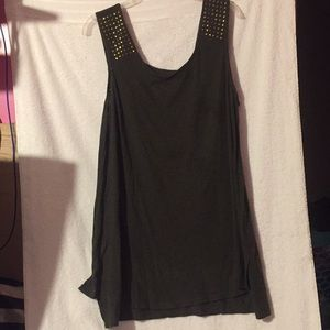 Maternity army green with gold studs high-low tank